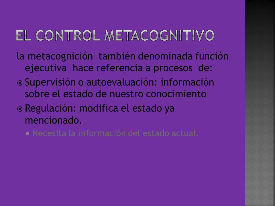 EL CONTROL METACOGNITIVO