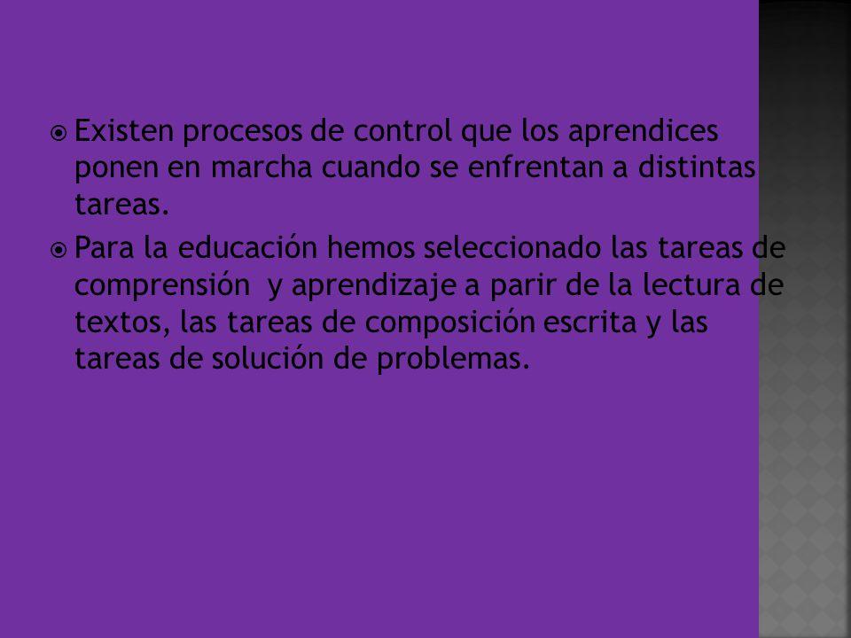 Existen procesos de control que los aprendices ponen en marcha cuando se enfrentan a distintas tareas.