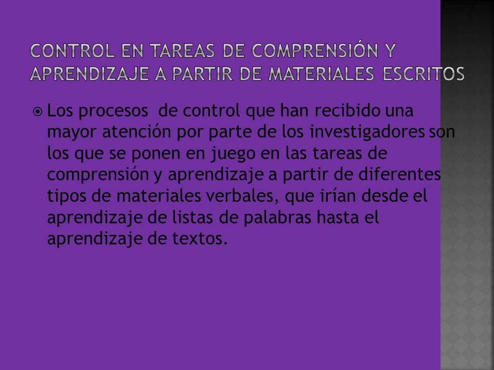 CONTROL EN TAREAS DE COMPRENSIÓN Y APRENDIZAJE A PARTIR DE MATERIALES ESCRITOS
