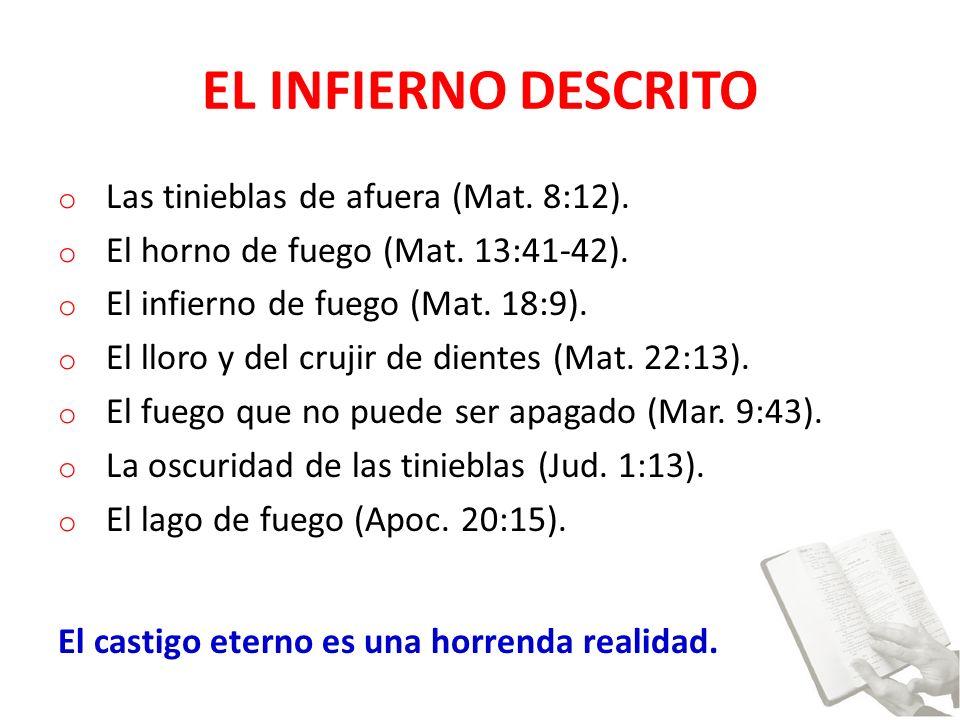 EL INFIERNO DESCRITO Las tinieblas de afuera (Mat. 8:12).