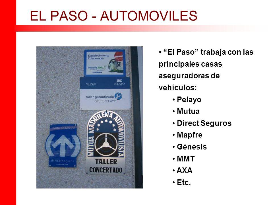 EL PASO - AUTOMOVILES El Paso trabaja con las principales casas aseguradoras de vehículos: Pelayo.