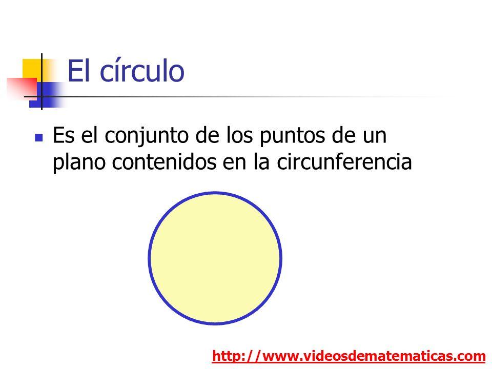El círculo Es el conjunto de los puntos de un plano contenidos en la circunferencia.