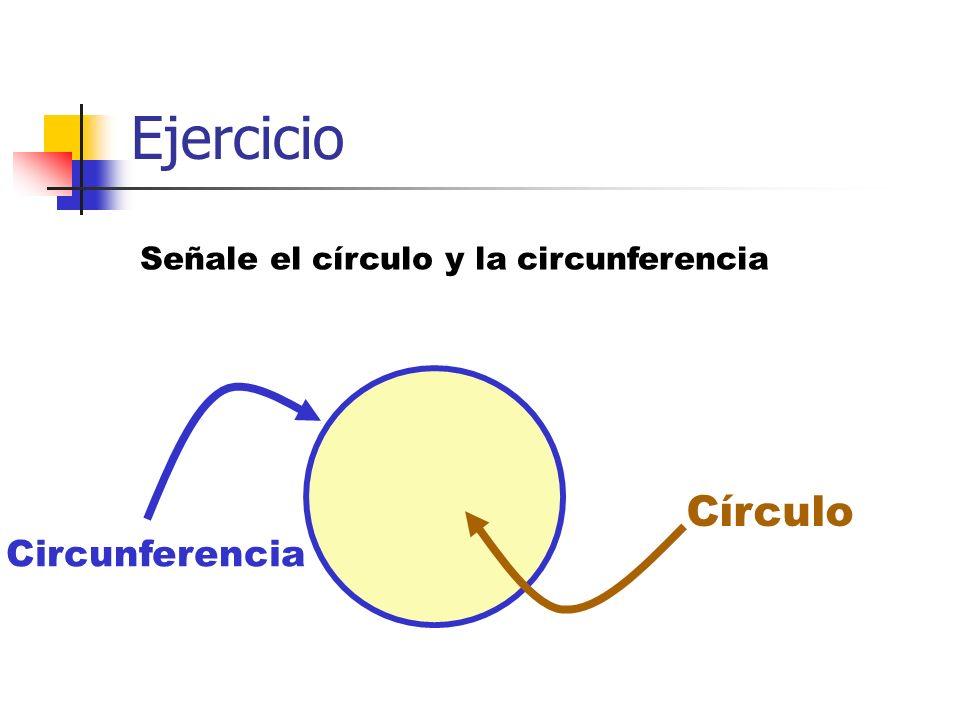 Ejercicio Señale el círculo y la circunferencia Círculo Circunferencia
