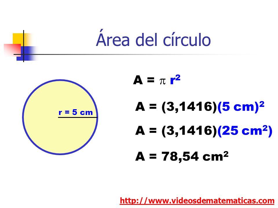 Área del círculo A = p r2 A = (3,1416)(5 cm)2 A = (3,1416)(25 cm2)