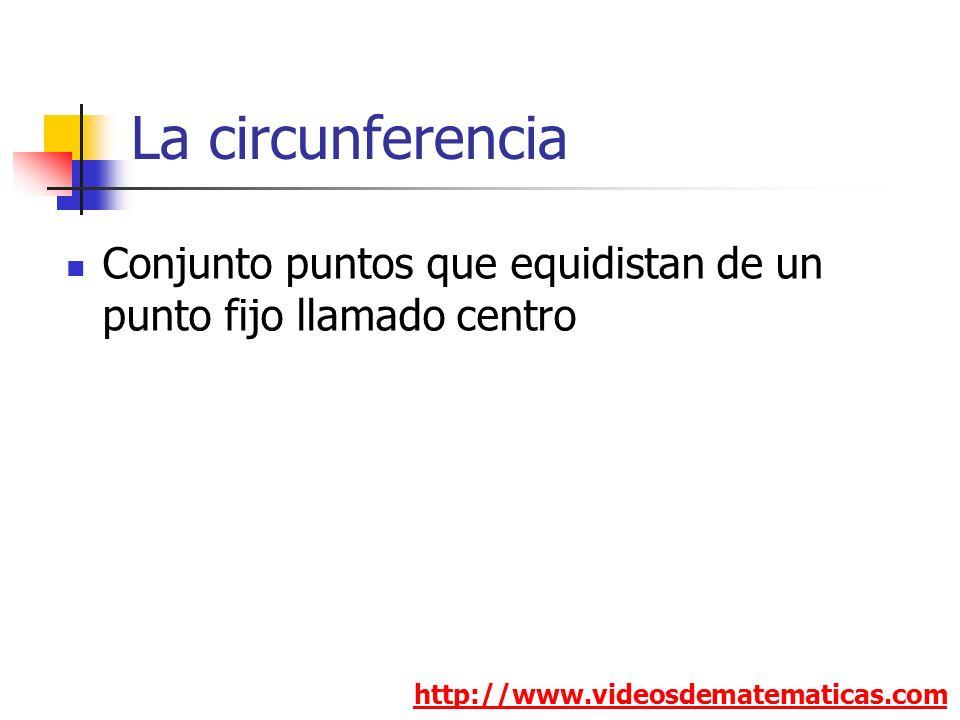La circunferencia Conjunto puntos que equidistan de un punto fijo llamado centro.