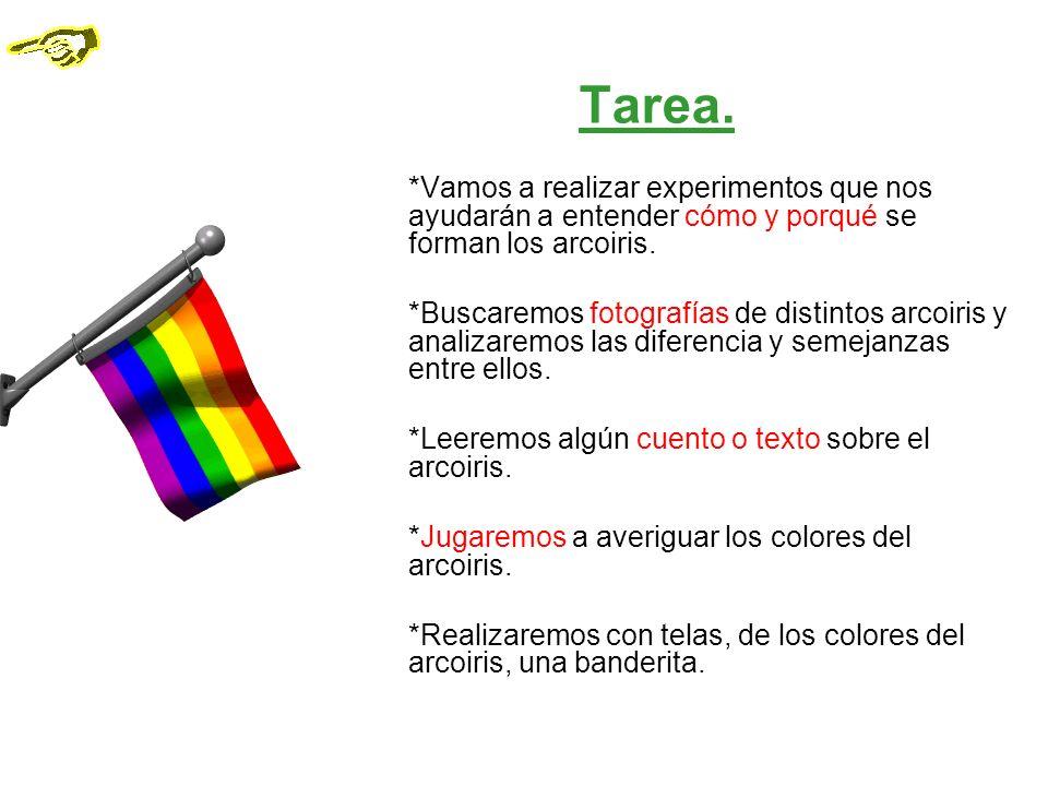 Tarea. *Vamos a realizar experimentos que nos ayudarán a entender cómo y porqué se forman los arcoiris.