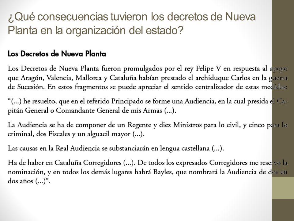 ¿Qué consecuencias tuvieron los decretos de Nueva Planta en la organización del estado