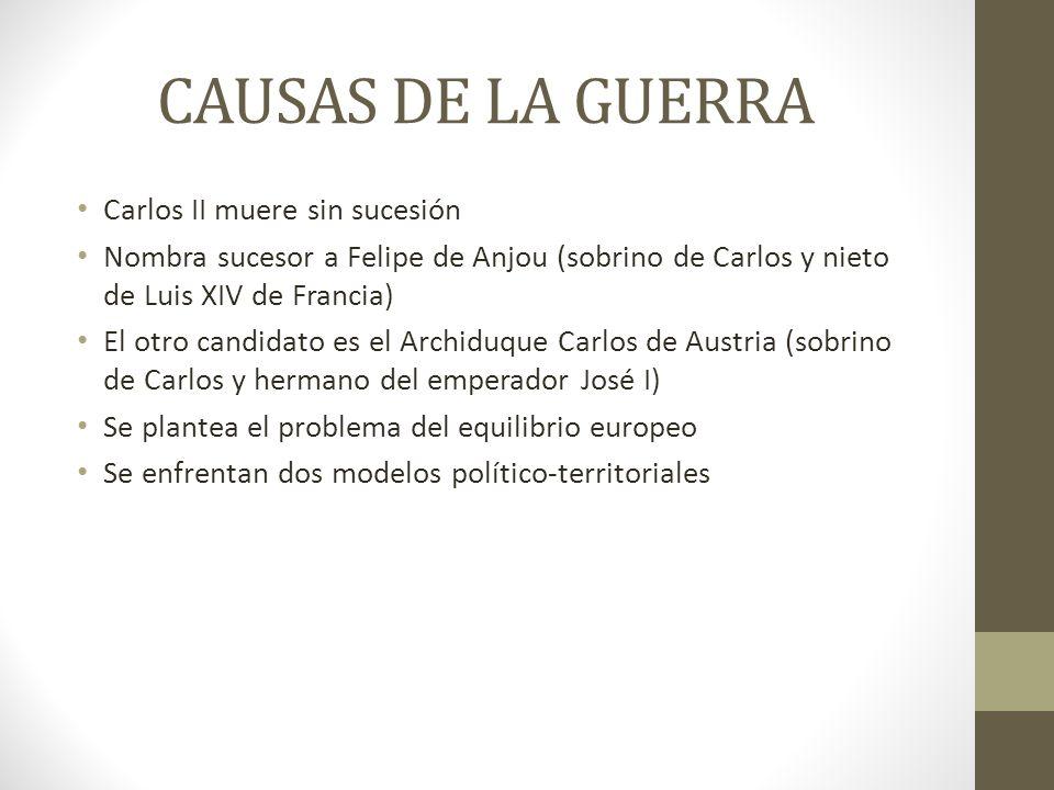 CAUSAS DE LA GUERRA Carlos II muere sin sucesión