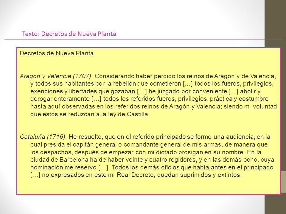 Texto: Decretos de Nueva Planta