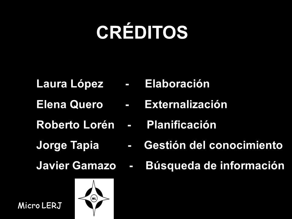 CRÉDITOS Laura López - Elaboración Elena Quero - Externalización