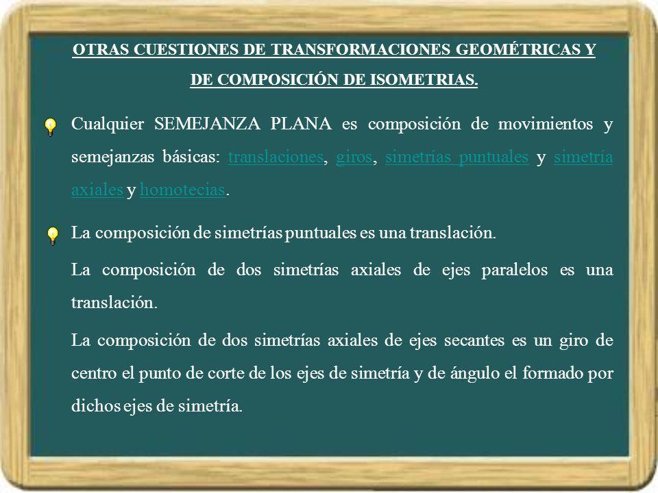 La composición de simetrías puntuales es una translación.