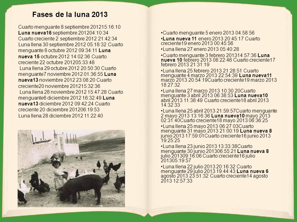 Fases de la luna 2013 Cuarto menguante 8 septiembre 201215:16:10 Luna nueva16 septiembre 201204:10:34 Cuarto creciente 2 septiembre 2012 21:42:34.