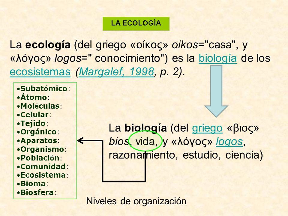 LA ECOLOGÍA La ecología (del griego «οίκος» oikos= casa , y «λóγος» logos= conocimiento ) es la biología de los ecosistemas (Margalef, 1998, p. 2).