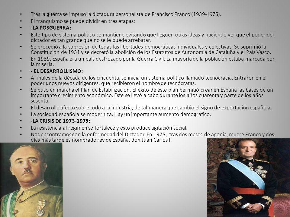 Tras la guerra se impuso la dictadura personalista de Francisco Franco (1939-1975).