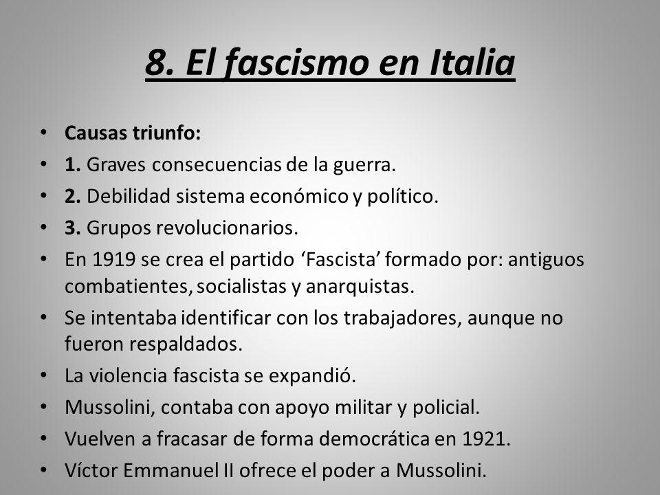 8. El fascismo en Italia Causas triunfo: