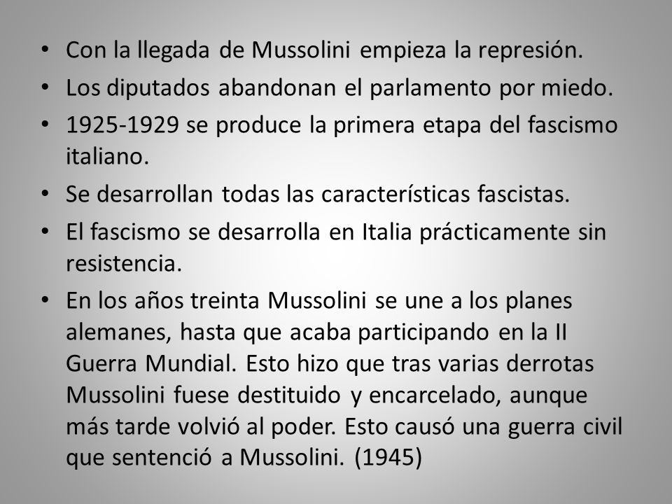 Con la llegada de Mussolini empieza la represión.
