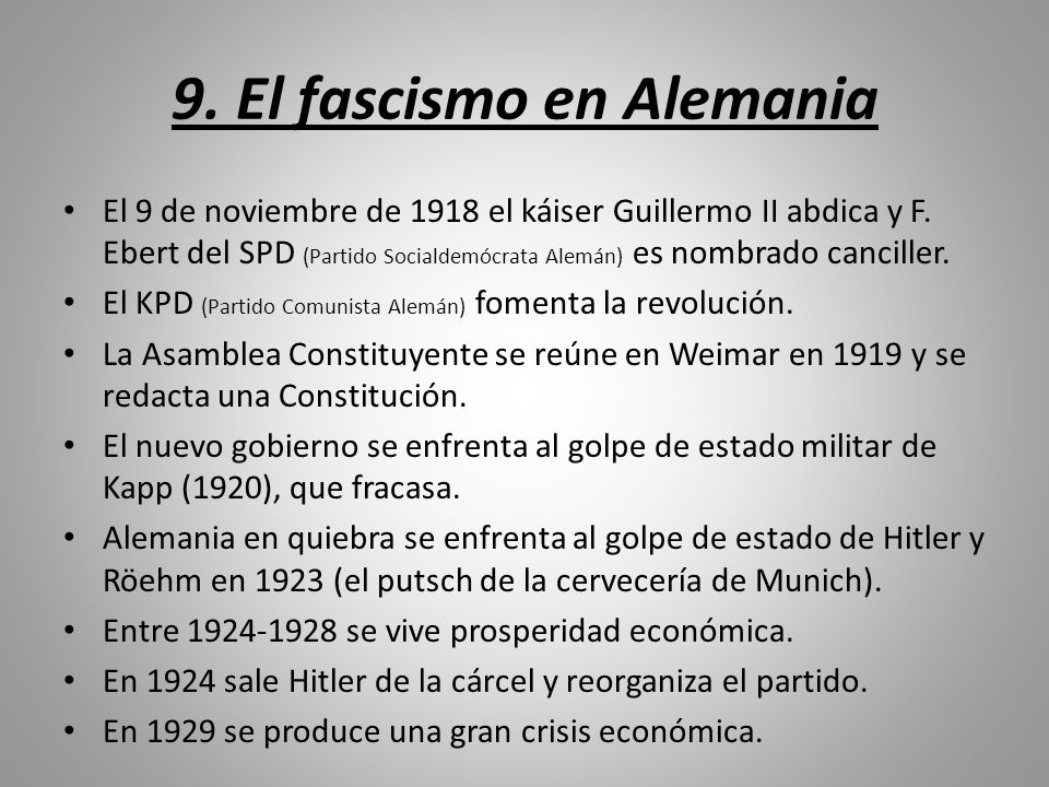 9. El fascismo en Alemania