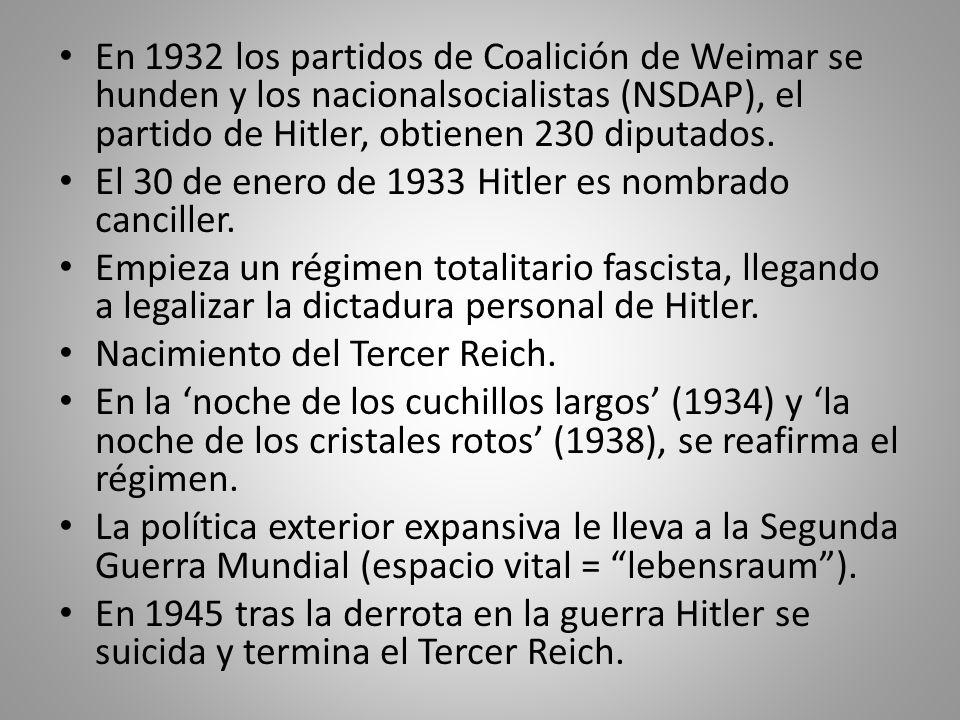 En 1932 los partidos de Coalición de Weimar se hunden y los nacionalsocialistas (NSDAP), el partido de Hitler, obtienen 230 diputados.