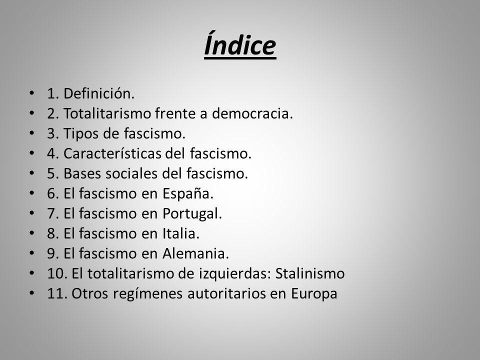 Índice 1. Definición. 2. Totalitarismo frente a democracia.