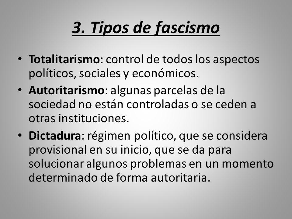 3. Tipos de fascismo Totalitarismo: control de todos los aspectos políticos, sociales y económicos.