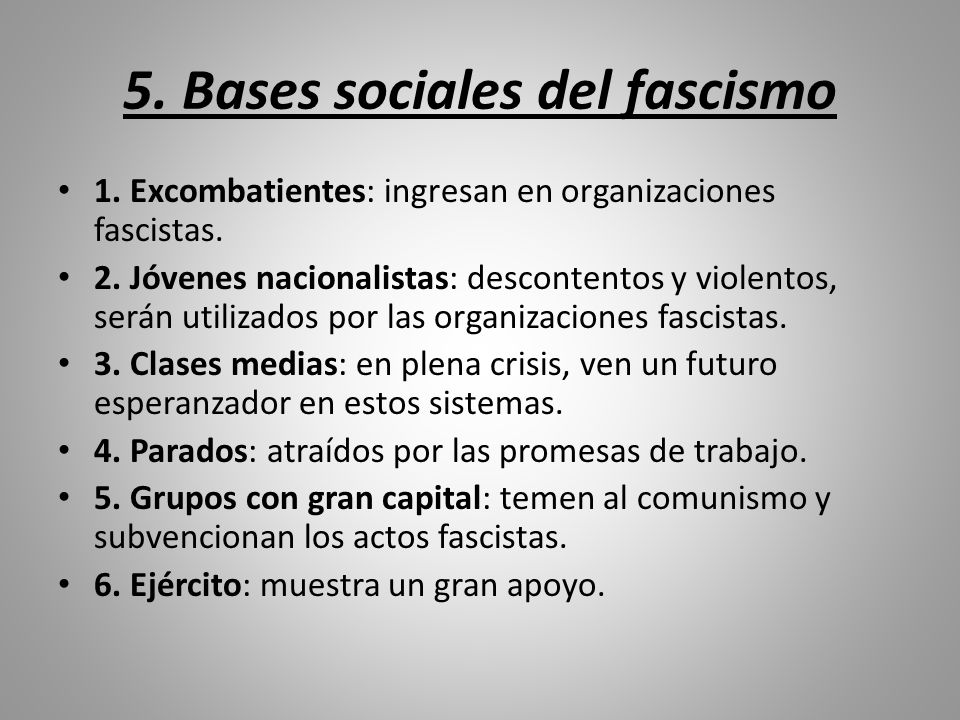 5. Bases sociales del fascismo