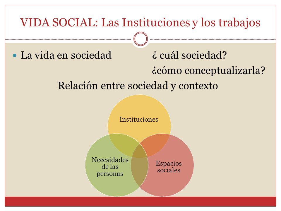 VIDA SOCIAL: Las Instituciones y los trabajos