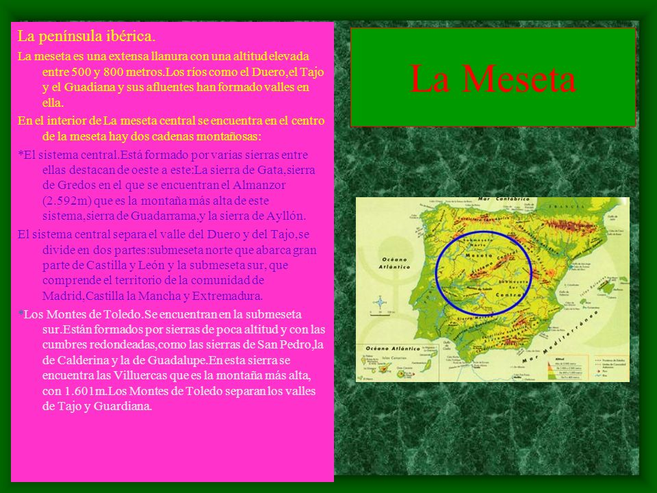 La Meseta La península ibérica.