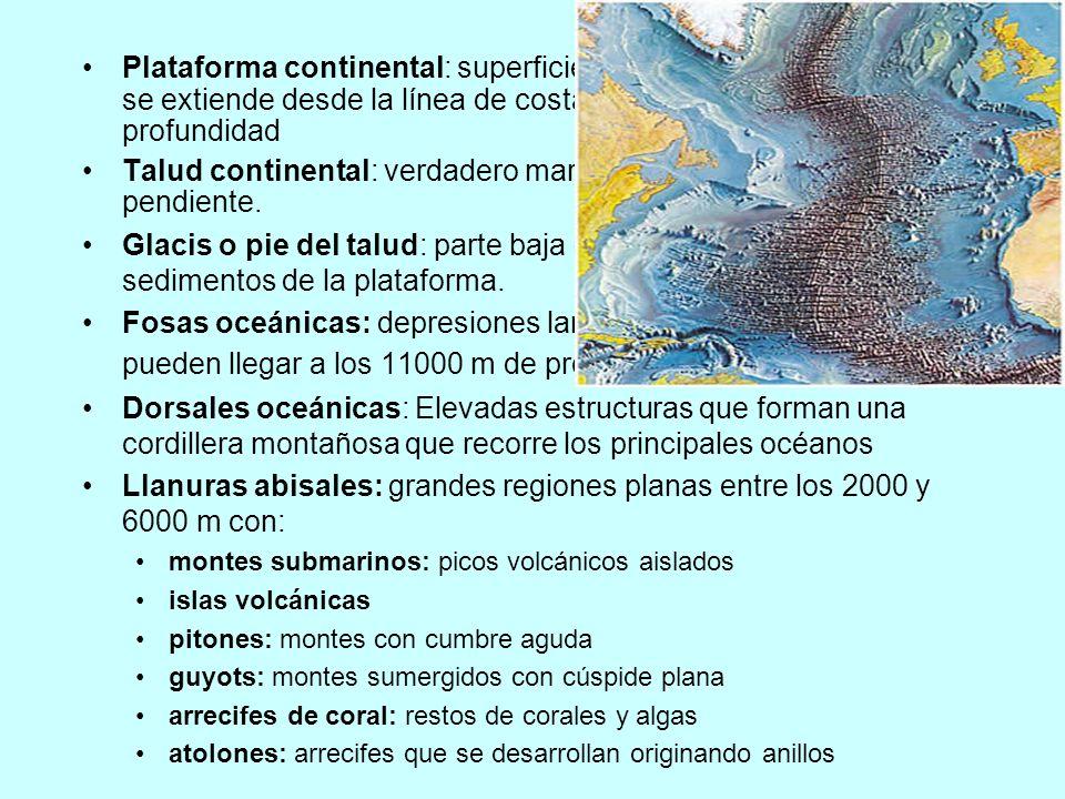 Plataforma continental: superficie con pendiente suave que se extiende desde la línea de costa hasta los 200m de profundidad