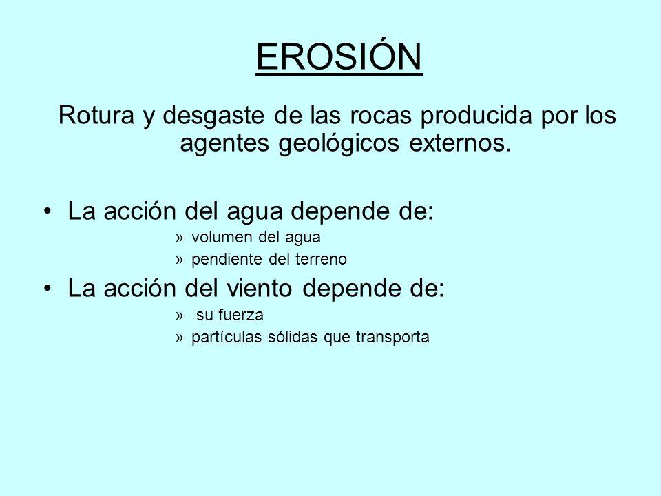 EROSIÓN Rotura y desgaste de las rocas producida por los agentes geológicos externos. La acción del agua depende de: