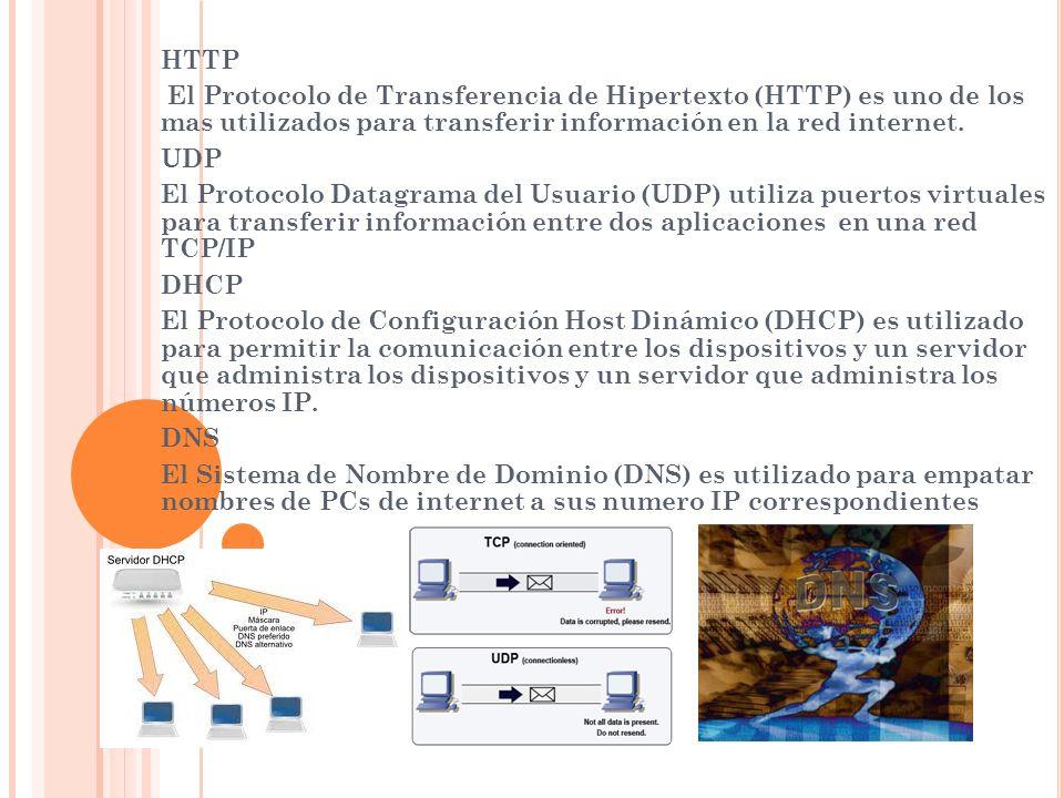 HTTP El Protocolo de Transferencia de Hipertexto (HTTP) es uno de los mas utilizados para transferir información en la red internet.