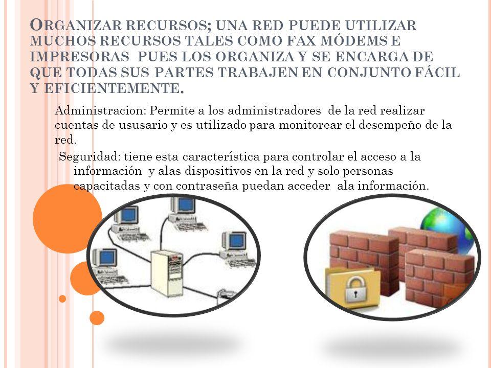 Organizar recursos; una red puede utilizar muchos recursos tales como fax módems e impresoras pues los organiza y se encarga de que todas sus partes trabajen en conjunto fácil y eficientemente.