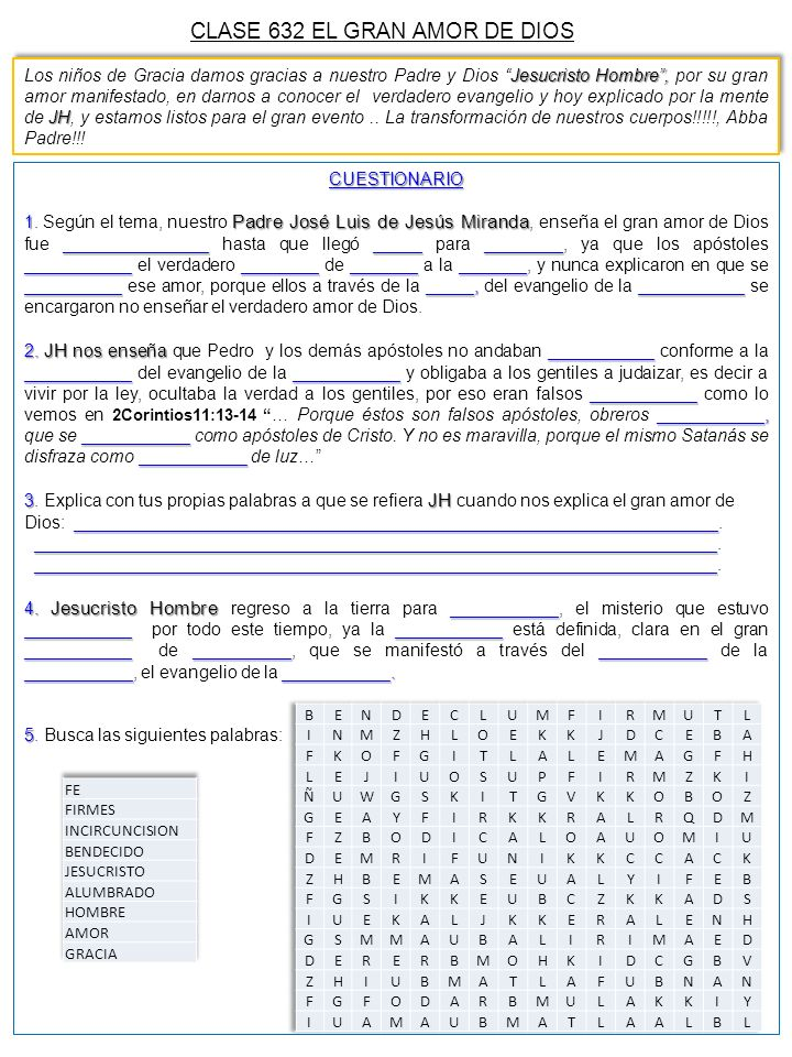 CLASE 632 EL GRAN AMOR DE DIOS