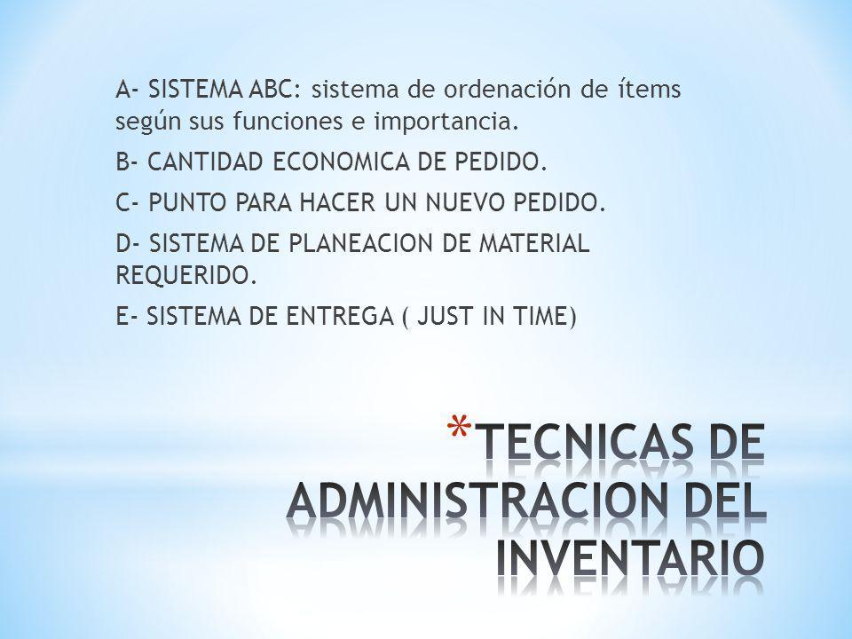 TECNICAS DE ADMINISTRACION DEL INVENTARIO