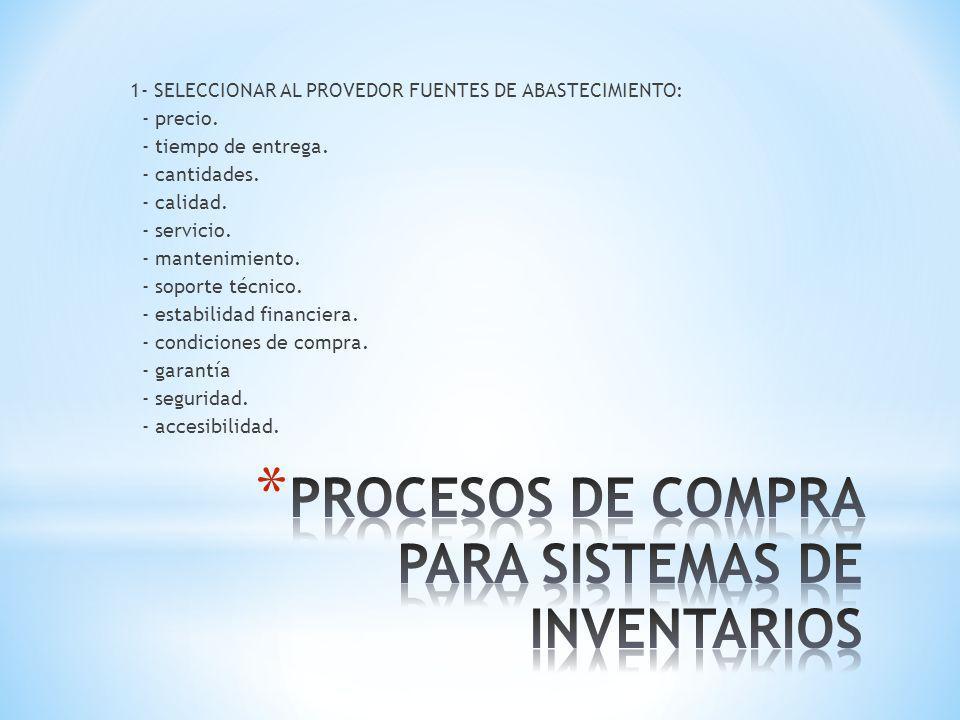 PROCESOS DE COMPRA PARA SISTEMAS DE INVENTARIOS