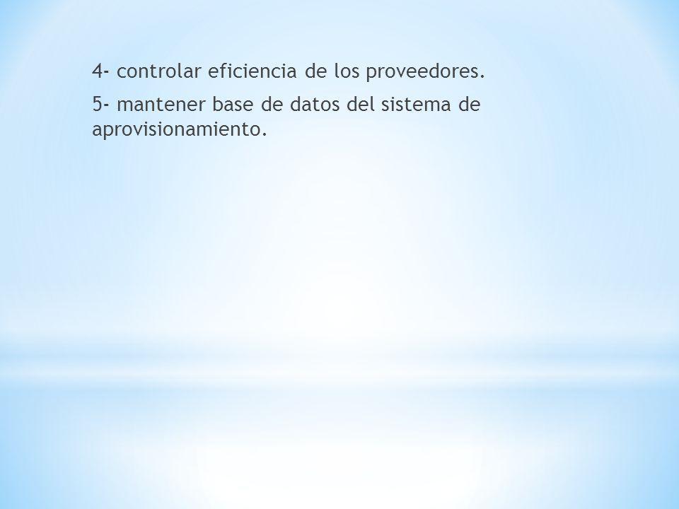 4- controlar eficiencia de los proveedores