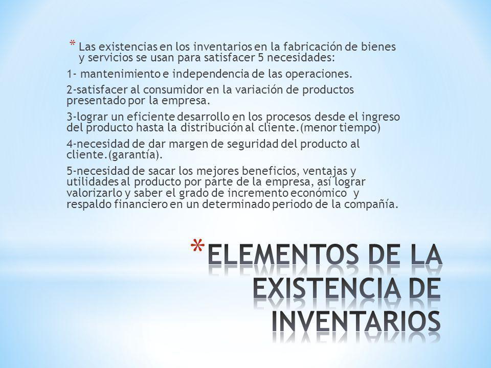 ELEMENTOS DE LA EXISTENCIA DE INVENTARIOS