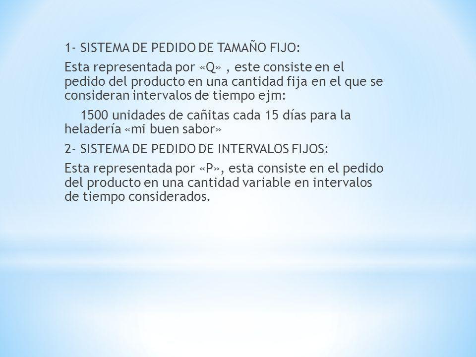 1- SISTEMA DE PEDIDO DE TAMAÑO FIJO: Esta representada por «Q» , este consiste en el pedido del producto en una cantidad fija en el que se consideran intervalos de tiempo ejm: 1500 unidades de cañitas cada 15 días para la heladería «mi buen sabor» 2- SISTEMA DE PEDIDO DE INTERVALOS FIJOS: Esta representada por «P», esta consiste en el pedido del producto en una cantidad variable en intervalos de tiempo considerados.