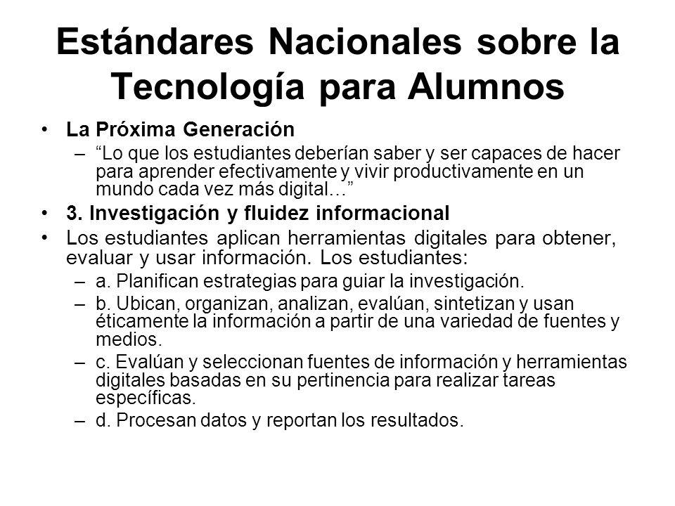 Estándares Nacionales sobre la Tecnología para Alumnos