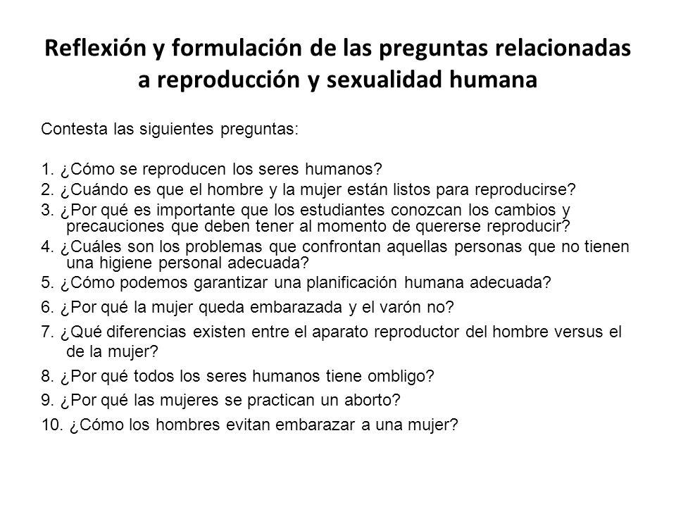 Reflexión y formulación de las preguntas relacionadas a reproducción y sexualidad humana