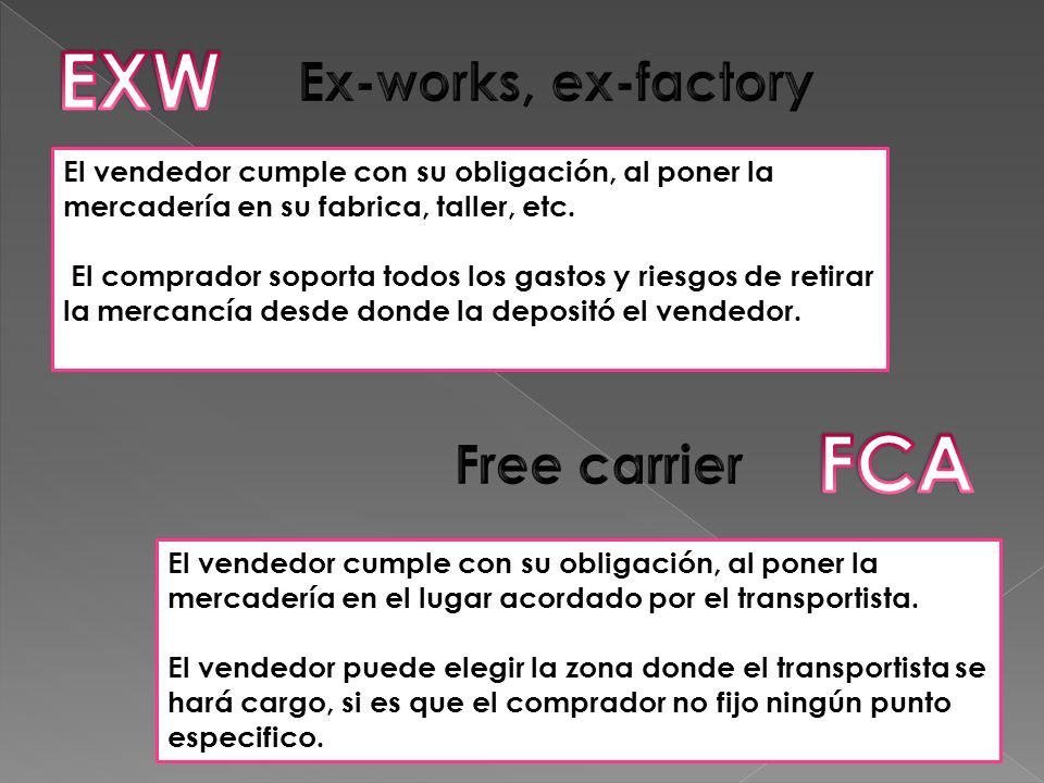 EXW FCA Ex-works, ex-factory Free carrier