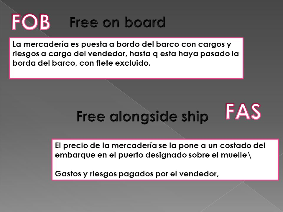 FOB FAS Free on board Free alongside ship