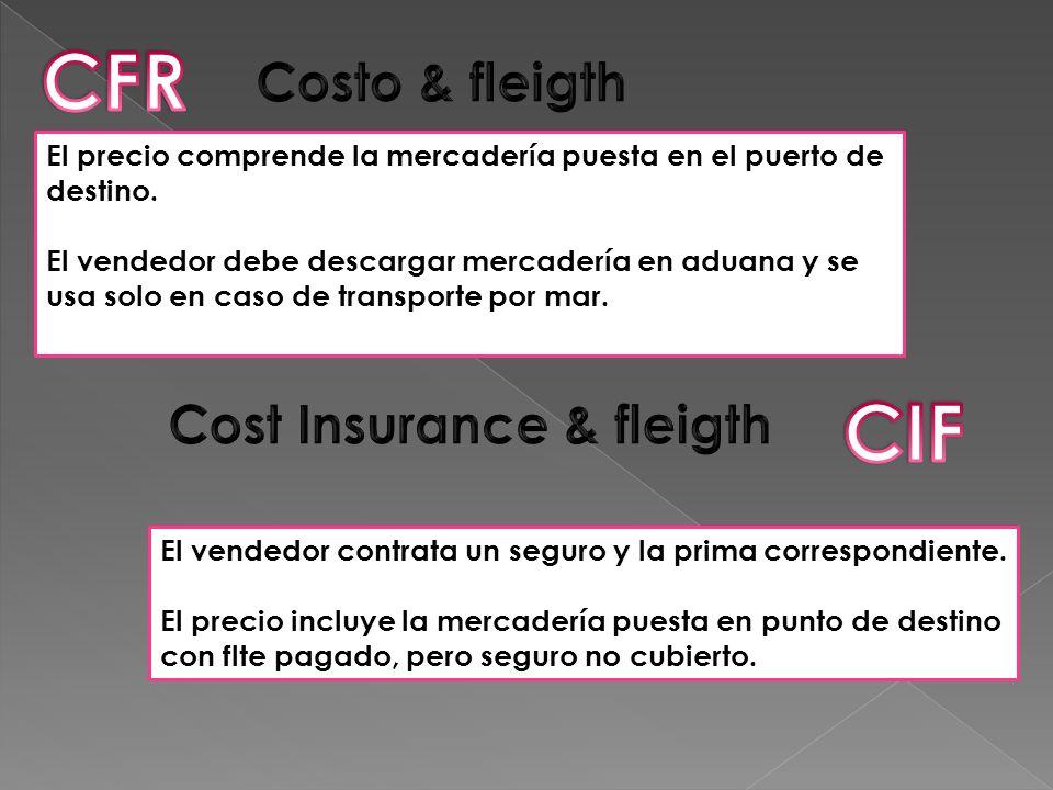 CFR CIF Costo & fleigth Cost Insurance & fleigth