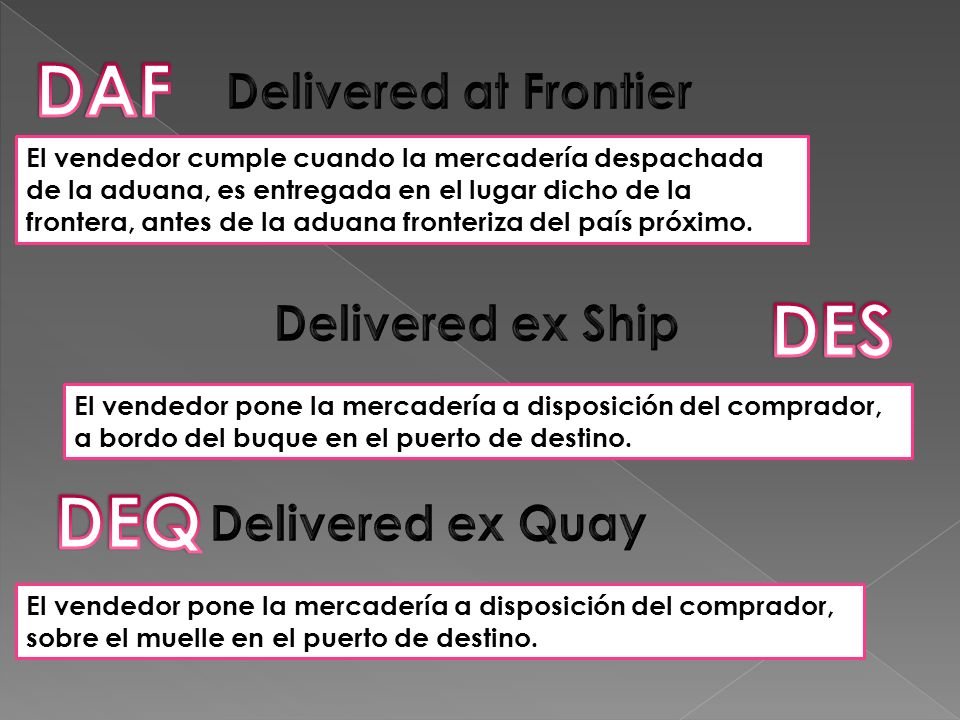 DAF DES DEQ Delivered at Frontier Delivered ex Ship Delivered ex Quay