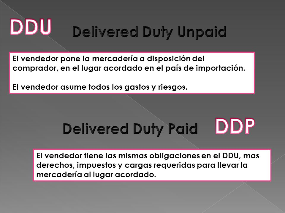 DDU DDP Delivered Duty Unpaid Delivered Duty Paid