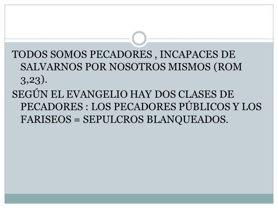 TODOS SOMOS PECADORES , INCAPACES DE SALVARNOS POR NOSOTROS MISMOS (ROM 3,23).