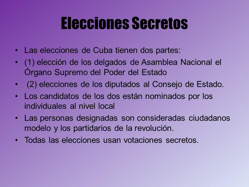 Elecciones Secretos Las elecciones de Cuba tienen dos partes: