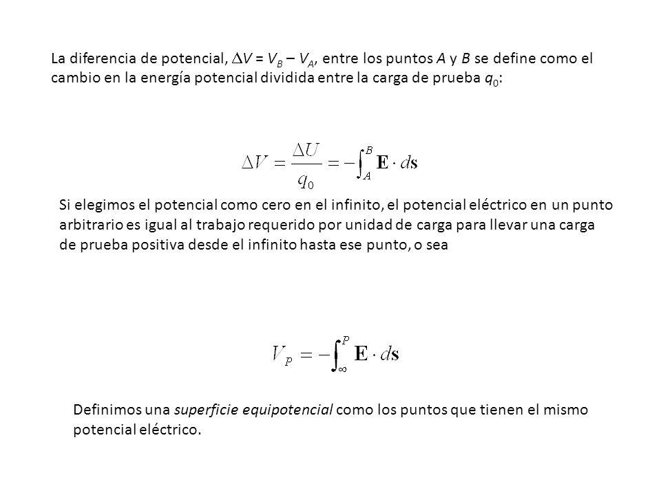 La diferencia de potencial, DV = VB – VA, entre los puntos A y B se define como el cambio en la energía potencial dividida entre la carga de prueba q0: