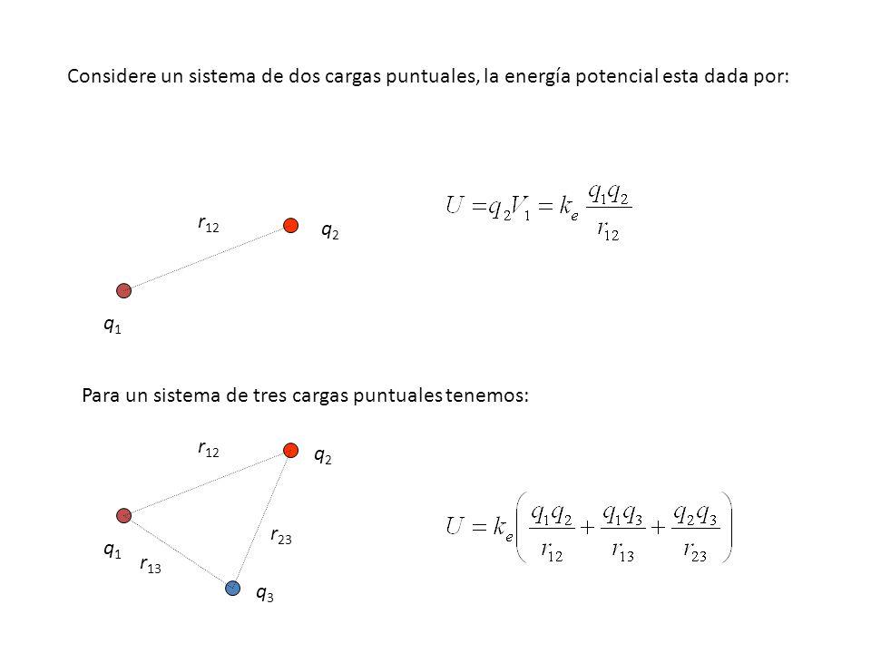 Considere un sistema de dos cargas puntuales, la energía potencial esta dada por: