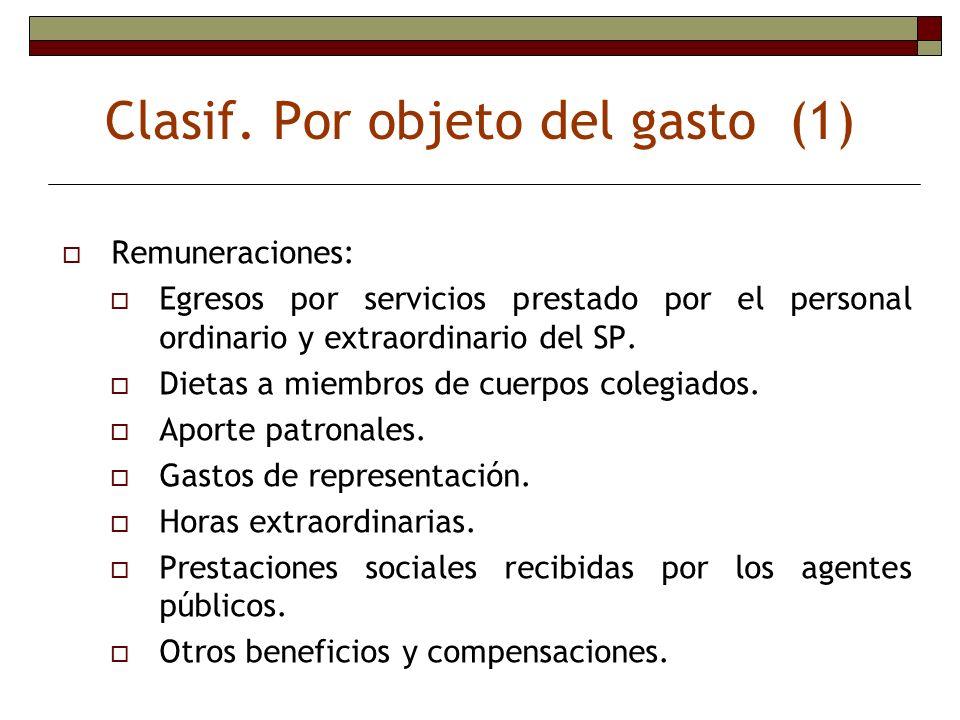 Clasif. Por objeto del gasto (1)