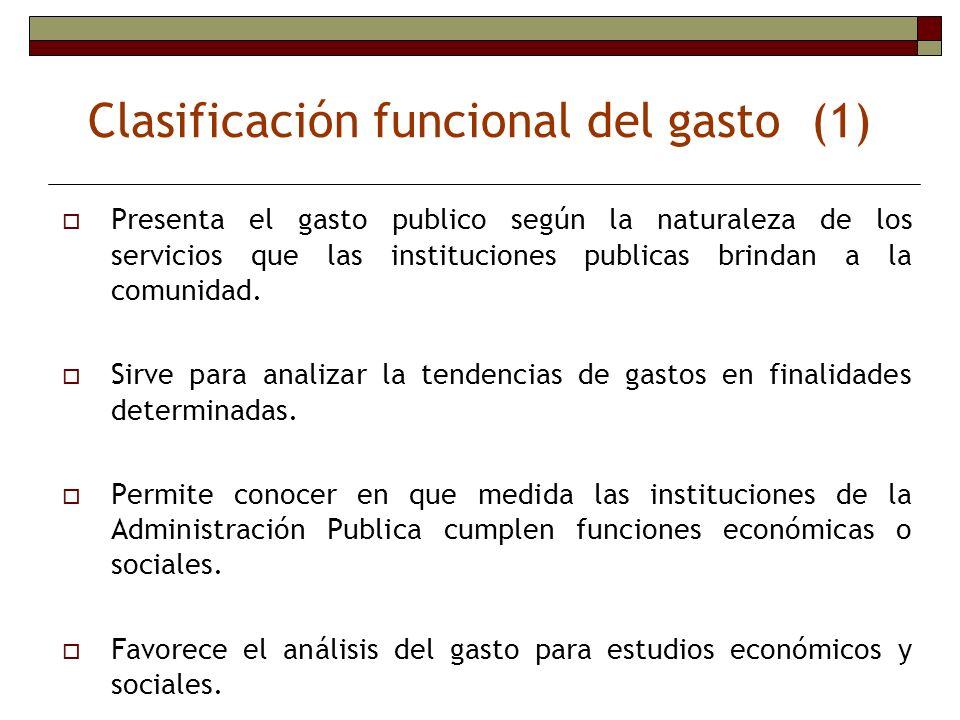 Clasificación funcional del gasto (1)